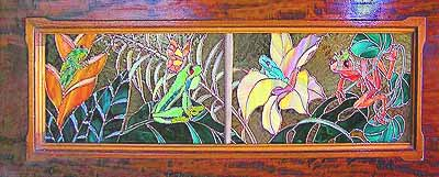 Two panels of flowers and frogs for a client's piano