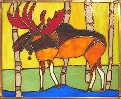 GLASS MOOSE PATTERN STAINED
